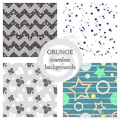 Free Set Of Seamless Vector Abstract Grunge Patterns, Different Backgrounds With Stars, Circle, Lines, Crancle, Icons Of Playings Cards Royalty Free Stock Photo - 93762815