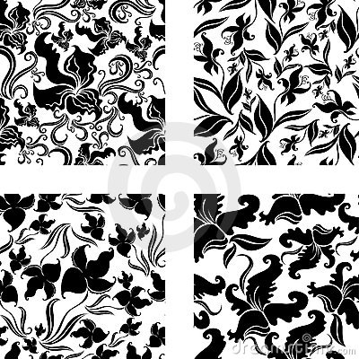 Free Set Of Seamless Vintage Pattern With Orchids Royalty Free Stock Image - 12369526