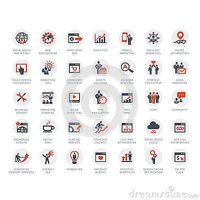Free Set Of SEO And Marketing Icons Royalty Free Stock Photo - 32587585