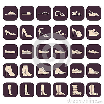 Free Set Of Shoes Icons Stock Photos - 67323143