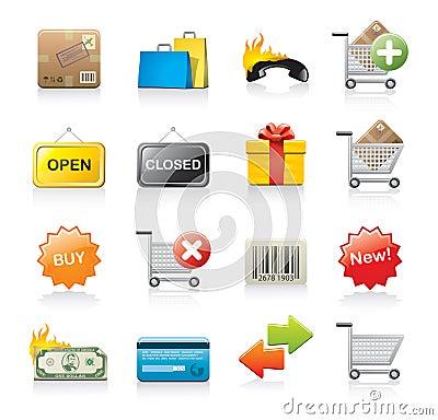 Free Set Of Shopping Icons Stock Images - 14544014