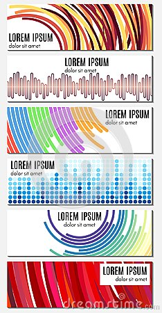 Free Set Of Six Colorful Abstract Header Banners With Curved Lines Royalty Free Stock Images - 102627989