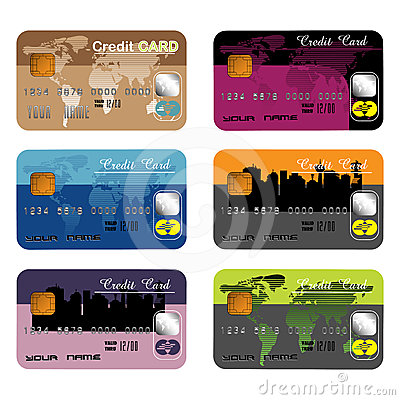 Free Set Of Six Different Credit Cards Stock Image - 24339461