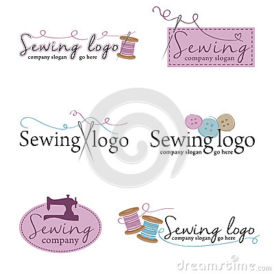 Free Set Of Six Sewing Logos (vector) Royalty Free Stock Photography - 60436967