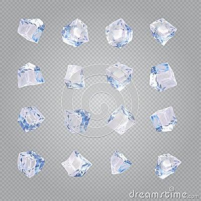 Free Set Of Sixteen Transparent Ice Cubes Stock Photo - 91322710