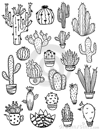 Free Set Of Sketch Cactus Icons. Stock Images - 92914764