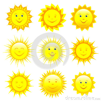 Free Set Of Smiling Sun Over White Royalty Free Stock Photography - 44570247