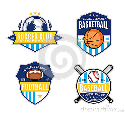 Free Set Of Sport Team Logo For Four Sport Disciplines Royalty Free Stock Photography - 61642667