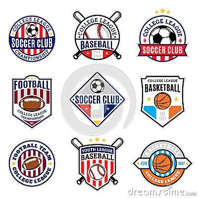 Free Set Of Sport Team Logo For Four Sport Disciplines Royalty Free Stock Photos - 61642668