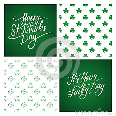 Free Set Of St. Patrick S Day Greeting Cards And Backgrounds. St. Patrick S Day Lettering. Shamrock Seamless Pattern. Royalty Free Stock Photography - 67120697