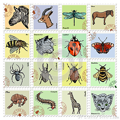 Free Set Of Stamps With Different Animals Royalty Free Stock Photography - 60544167