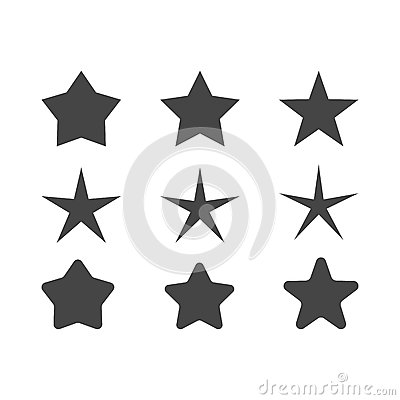 Free Set Of Stars With Different Radius Of Beams  Sharp And Round Corners Stock Images - 91068104