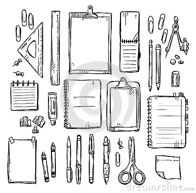 Free Set Of Stationery Drawings Stock Images - 49050094