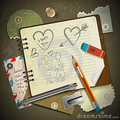 Free Set Of Stationery, School Supplies And Love In Vintage Royalty Free Stock Image - 33760256