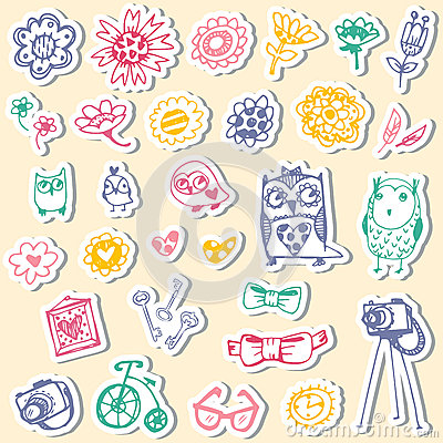Free Set Of Stickers With Owls And Fashionable Things. Royalty Free Stock Photo - 40054005