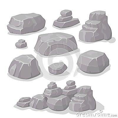 Free Set Of Stones, Rock Elements Different Shapes Cartoon Style Set, Flat Design, Isometric Stones  Vector Stock Image - 70033051