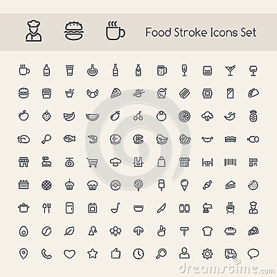 Free Set Of Stroke Food Icons Royalty Free Stock Photo - 51622445