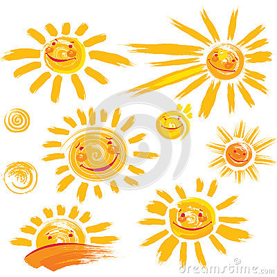 Free Set Of Sun Symbols With Smile Stock Photos - 71420543