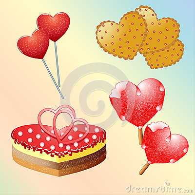 Free Set Of Sweets For Valentine S Day. Stock Photography - 61097402