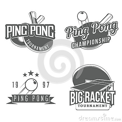 Free Set Of Table Tennis / Ping Pong Labels Royalty Free Stock Photography - 58811687