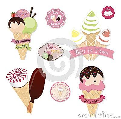 Free Set Of Tasty Ice Cream Royalty Free Stock Photo - 53904905