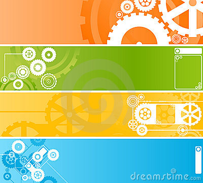 Free Set Of Technological Clockwork Banners Stock Photography - 4427962