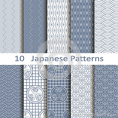 Free Set Of Ten Japanese Patterns Stock Photo - 44156270