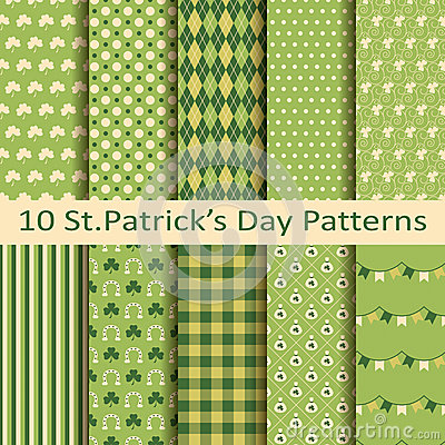 Free Set Of Ten Patterns For St.Patrick S Day Stock Photography - 50089302