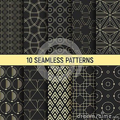 Free Set Of Ten Seamless Patterns. Royalty Free Stock Images - 105222109