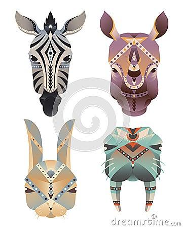 Free Set Of The Geometric Abstract Animals Head. Zebra, Rhino, Hare, Walrus Royalty Free Stock Photos - 62418458