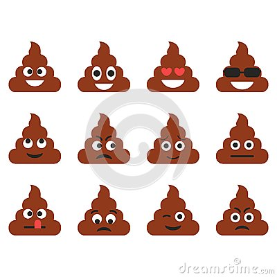 Free Set Of The Poop Emoticons. Cute Emoji Icons. Cartoon Emotions. Vector Illustration Royalty Free Stock Photo - 122993155