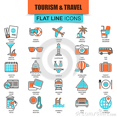 Free Set Of Thin Line Icons Tourism Recreation, Travel Vacation To Resort Hotel Stock Photo - 72202930