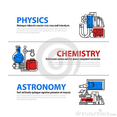 Free Set Of Three Web Banners About Education And College Subjects In Flat Illustration Style. Physics, Chemistry And Astronomy. Stock Images - 108155694