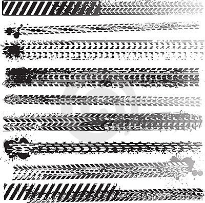 Free Set Of Tire Tracks Royalty Free Stock Photography - 23352897