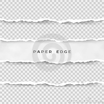 Free Set Of Torn Paper Stripes. Paper Texture With Damaged Edge Isolated On Transparent Background. Vector Illustration Royalty Free Stock Photography - 109062847