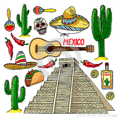Free Set Of Traditional Mexican Items Stock Photography - 76976712