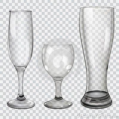 Free Set Of Transparent Glass Goblets Royalty Free Stock Photo - 40465465