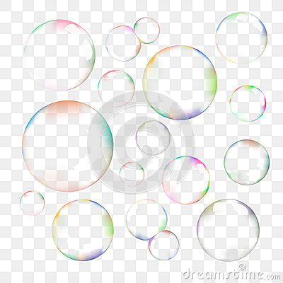 Free Set Of Transparent Vector Soap Bubbles Royalty Free Stock Photography - 50460807