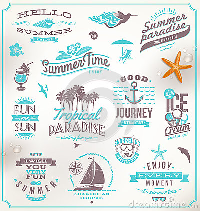 Free Set Of Travel And Vacation Emblems Royalty Free Stock Photo - 32173635