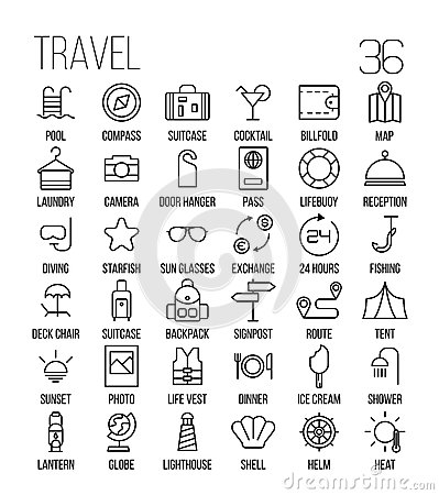 Free Set Of Travel Icons In Modern Thin Line Style. Stock Photography - 78649422