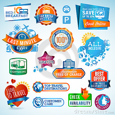 Free Set Of Travel Labels And Stickers Royalty Free Stock Images - 25772729
