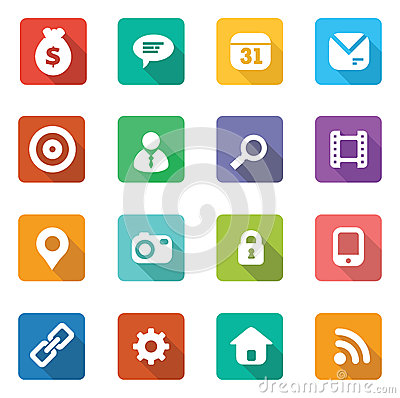 Free Set Of Trendy Flat Icons Royalty Free Stock Image - 32654276