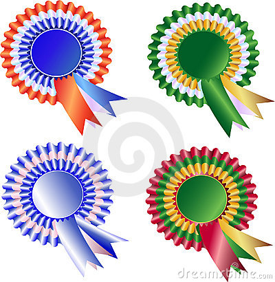 Free Set Of Tri Color Rosette And Ribbons Stock Photo - 18955550