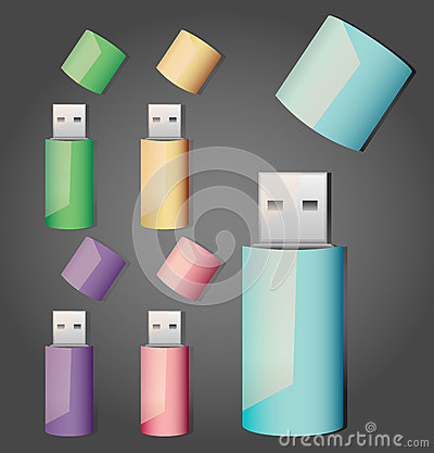 Free Set Of Usb Sticks Royalty Free Stock Images - 43690179