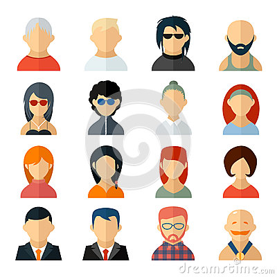 Free Set Of User Avatar Icons In Flat Style Stock Photography - 43191882