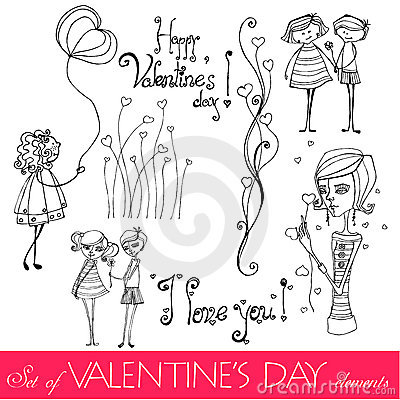 Free Set Of Valentine Day S Elements Royalty Free Stock Photo - 17318605