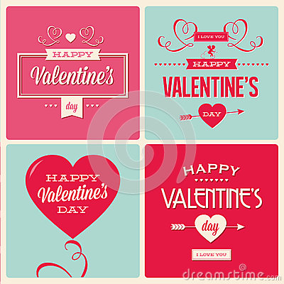 Free Set Of Valentines Day Card Design Royalty Free Stock Photo - 28318445