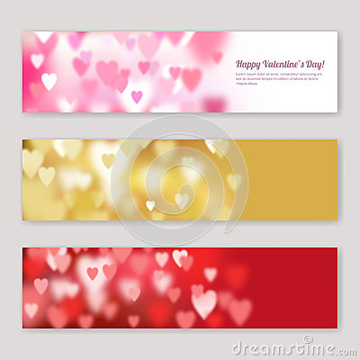 Free Set Of Valentines Day Horizontal Banners Design With Blurred Pink, Red And Golden Hearts. Stock Photos - 84760193