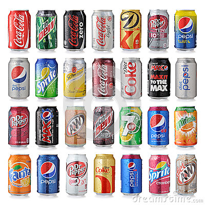 Free Set Of Various Brand Of Soda Drinks Stock Photography - 48239782