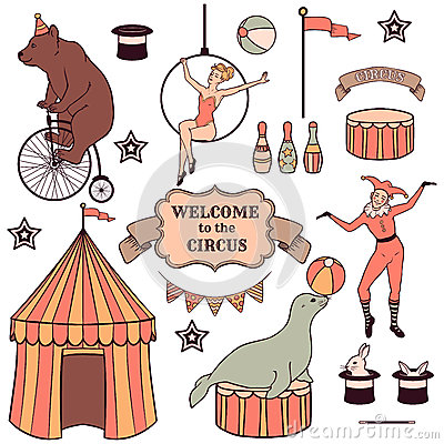 Free Set Of Various Circus Elements Stock Photography - 42142632